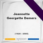 Jeannette Georgette Demers, Headstone of Jeannette Georgette Demers (1920 - 2005), memorial