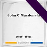 John C Macdonald, Headstone of John C Macdonald (1919 - 2005), memorial