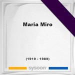 Maria Miro, Headstone of Maria Miro (1919 - 1989), memorial