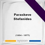 Paraskeve Stefanides, Headstone of Paraskeve Stefanides (1894 - 1977), memorial
