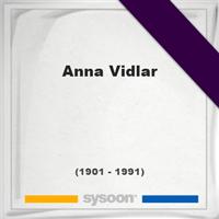Anna Vidlar, Headstone of Anna Vidlar (1901 - 1991), memorial