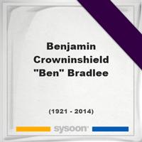 """Benjamin Crowninshield """"Ben"""" Bradlee, Headstone of Benjamin Crowninshield """"Ben"""" Bradlee (1921 - 2014), memorial"""