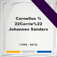 """Cornelius """"Corrie"""" Johannes Sanders , Headstone of Cornelius """"Corrie"""" Johannes Sanders  (1966 - 2012), memorial"""