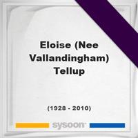 Eloise (Nee Vallandingham) Tellup on Sysoon