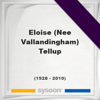 Eloise (Nee Vallandingham) Tellup, Headstone of Eloise (Nee Vallandingham) Tellup (1928 - 2010), memorial