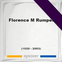 Florence M Rumpel, Headstone of Florence M Rumpel (1920 - 2003), memorial