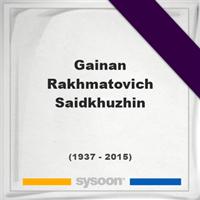 Gainan Rakhmatovich Saidkhuzhin, Headstone of Gainan Rakhmatovich Saidkhuzhin (1937 - 2015), memorial