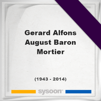Gerard Alfons August, Baron Mortier, Headstone of Gerard Alfons August, Baron Mortier (1943 - 2014), memorial