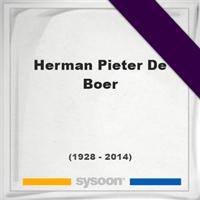 Herman Pieter De Boer, Headstone of Herman Pieter De Boer (1928 - 2014), memorial