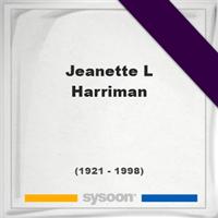 Jeanette L Harriman, Headstone of Jeanette L Harriman (1921 - 1998), memorial