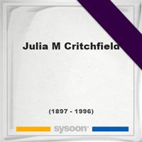 Julia M Critchfield, Headstone of Julia M Critchfield (1897 - 1996), memorial