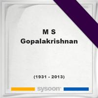 M. S. Gopalakrishnan, Headstone of M. S. Gopalakrishnan (1931 - 2013), memorial