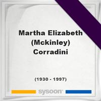 Martha Elizabeth (Mckinley) Corradini, Headstone of Martha Elizabeth (Mckinley) Corradini (1930 - 1997), memorial