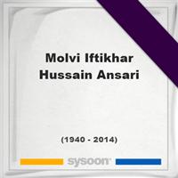 Molvi Iftikhar Hussain Ansari, Headstone of Molvi Iftikhar Hussain Ansari (1940 - 2014), memorial