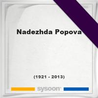 Nadezhda Popova, Headstone of Nadezhda Popova (1921 - 2013), memorial