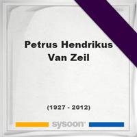 Petrus Hendrikus Van Zeil, Headstone of Petrus Hendrikus Van Zeil (1927 - 2012), memorial