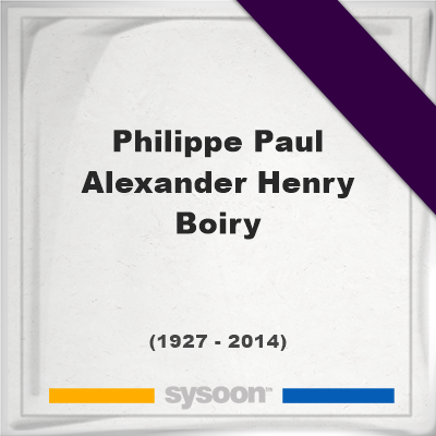 Philippe Paul Alexander Henry Boiry, Headstone of Philippe Paul Alexander Henry Boiry (1927 - 2014), memorial