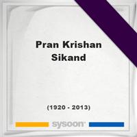 Pran Krishan Sikand, Headstone of Pran Krishan Sikand (1920 - 2013), memorial