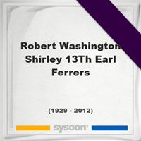 Robert Washington Shirley, 13Th Earl Ferrers, Headstone of Robert Washington Shirley, 13Th Earl Ferrers (1929 - 2012), memorial