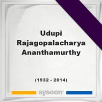 Udupi Rajagopalacharya Ananthamurthy, Headstone of Udupi Rajagopalacharya Ananthamurthy (1932 - 2014), memorial