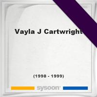 Vayla J Cartwright, Headstone of Vayla J Cartwright (1998 - 1999), memorial