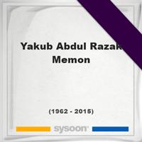 Yakub Abdul Razak Memon, Headstone of Yakub Abdul Razak Memon (1962 - 2015), memorial