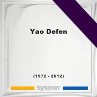 Yao Defen, Headstone of Yao Defen (1972 - 2012), memorial