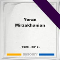 Yeran Mirzakhanian, Headstone of Yeran Mirzakhanian (1929 - 2012), memorial