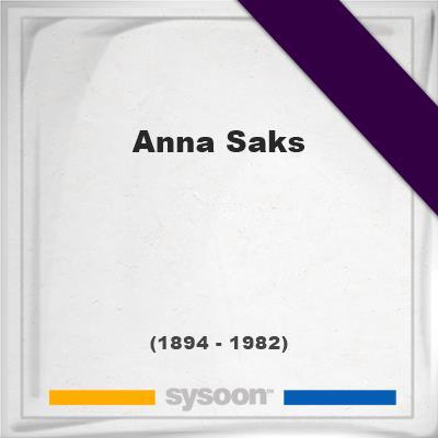 Anna Saks, Headstone of Anna Saks (1894 - 1982), memorial
