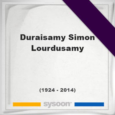 Headstone of Duraisamy Simon Lourdusamy (1924 - 2014), memorialDuraisamy Simon Lourdusamy on Sysoon