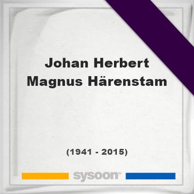 Headstone of Johan Herbert Magnus Härenstam (1941 - 2015), memorialJohan Herbert Magnus Härenstam on Sysoon