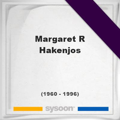 Margaret R Hakenjos, Headstone of Margaret R Hakenjos (1960 - 1996), memorial