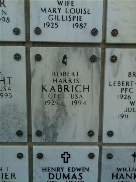 cdbe469a8600 Robert H Kabrich †69 (1925 - 1994) Online memorial  en